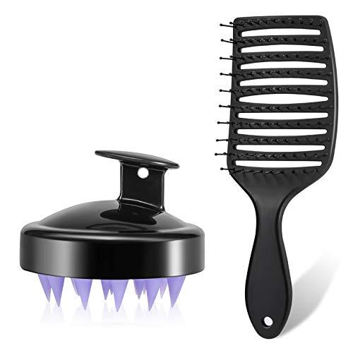 Detangling Brush, Pro Hair Brush Set, Scalp Massager Shampoo Brush, Detangler Brush for Wet and Dry Hair, Silicone Scalp Care, Professional Styling Hair Brushes for Curly, Kinky, Stright, Women, Men, Kids -Black