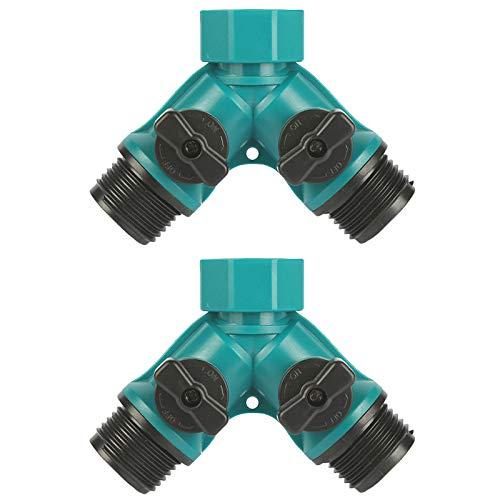 DragonX2 Wasserverteiler,Schlauchkupplung 2 Stücke Gartens chläuche Verteiler Wasserhahn Adapter 3/4 Zoll für Gartenschläuche,Wasserdurchfluss Regulier und Absperrung mit Bequemem Gummiertem Griff