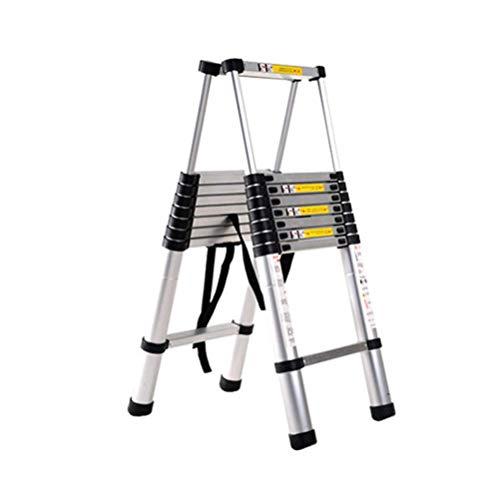 Escalera telescópica DIY aleación de aluminio telescópicas escaleras portátiles plegables de extensión portátil escaleras rectas Paso extensible Capacidad de carga 150KG, 2,6 + 2,6 M escalera escamote