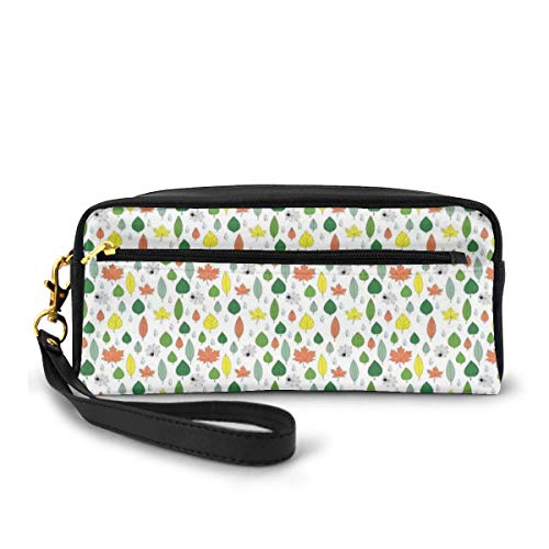 Pencil Case Pen Bag Pouch Stationary,Falling Leaves from Different Deciduous Trees Foliage Funny Spiders and Raindrops,Small Makeup Bag Coin Purse
