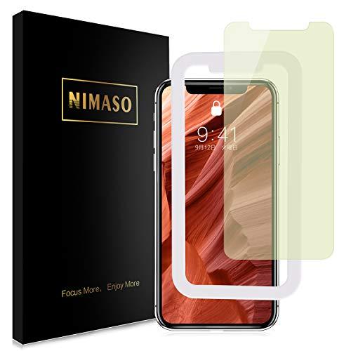 【ブルーライトカット】【ガイド枠付き】 Nimaso iPhone 11 / iPhone XR 用 強化ガラス液晶保護フィルム 目の疲れ軽減 ( 6.1 インチ iPhone11 / XR 用 保護フィルム )