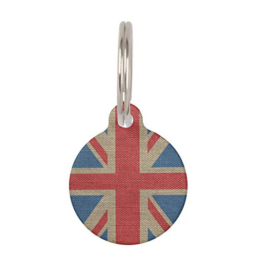 SLobyy Stainless Steel Pet ID Tags, Dog Tags, Cat Tags, Cool Trendy U.K. Union Jack Flag Burlap Texture Pet Name Tag for Dogs and Cats