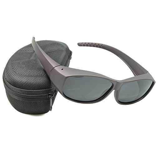 Br'Guras 眼鏡OK! メガネの上から掛けられるオーバーサングラス メンズ レディース 兼用 偏光 UV400 紫外線 99.9%カット 眼鏡+ケース+眼鏡拭き+ソフトケース+ストラップ 5点セット (レッド)