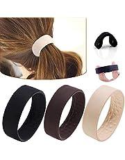 Gomas de pelo plegables de silicona, banda para el pelo, sin metal, banda elástica para el pelo, banda elástica para el pelo, cinta para el pelo, color negro