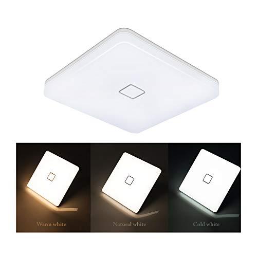 Deckenlampe LED Deckenleuchte Wasserdicht Öuesen 24W LED Lampe Decke Moderne Dünne Quadratische 2050LM Farbtemperatur Umschaltbar auf 3000/4000/5000K für Badezimmer Schlafzimmer Küche Balkon Bad Flur