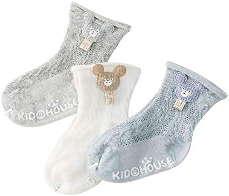 3 Pairs Baby Girls Boys Socks Toddler Non-Slip Grip Kids Socks