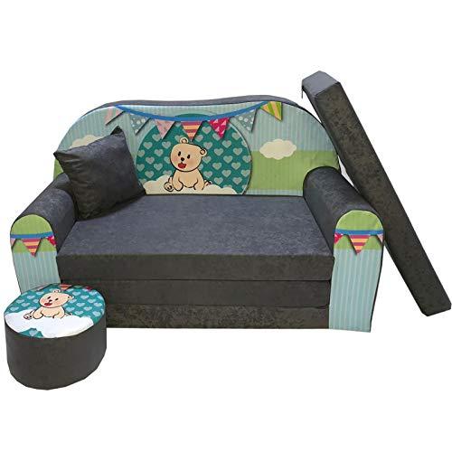 FORTISLINE Kindersofa Kindercouch Aufklappen Bettfunktion + Hocker W319 Viele Muster (Teddy Grün)