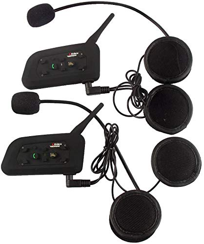 V6 Moto Bluetooth Casco Intercomunicador Intercomunicador Auricular, dúplex Completo Moto inalámbrico Interfono Conecte hasta 6 Pasajeros, Radio FM/GPS / MP4 / 1200M (2Pack)