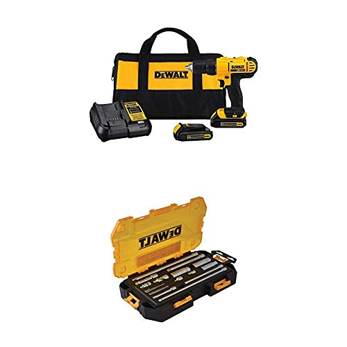DEWALT 20V MAX Cordless Drill/Driver with 15-Piece Drive Tool Accessory Set (DCD771C2 & DWMT73807)