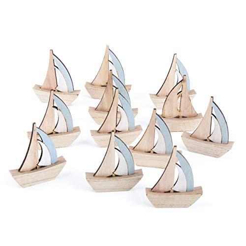 Logbuch-Verlag 12 kleine Segelboote Schiffe Natur blau 8 cm - Maritime Deko zum Hinstellen Mitgebsel Give-Away Tischdeko Taufe Kommunion Kindergeburtstag