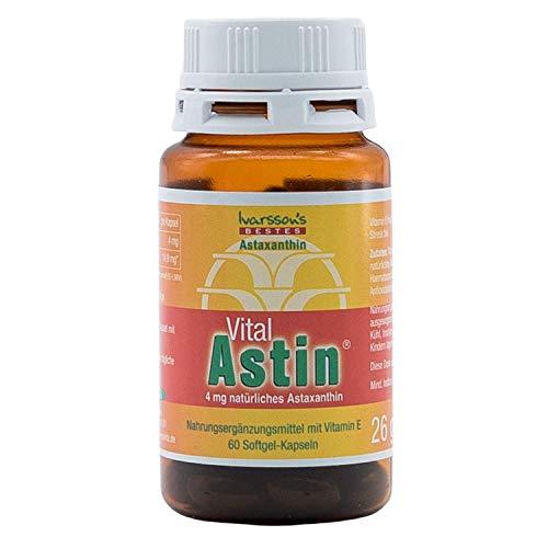 Astaxanthin I 60 Kapseln I Ivarssons VitalAstin I 4 mg natürliches Astaxanthin I Sonnenschutzkapseln mit Vitamin E I pflanzlicher Zellschutz I natürlicher Sonnenschutz