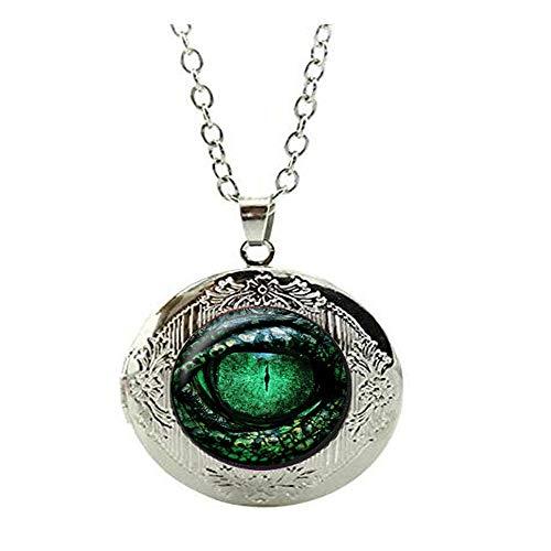 Collana con medaglione a forma di occhio di drago verde, collana con ciondolo a forma di occhio di lucertola