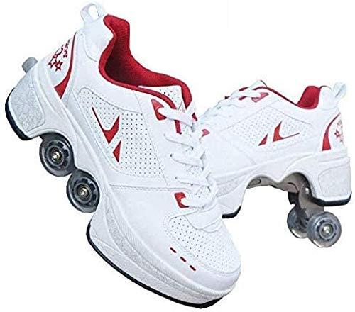 BHDYHM Patines De Ruedas Niña Patines De Hielo Ajustables Poleas Zapatos Deformación Multifuncional Quad Running para Adultos Niño,Red-43
