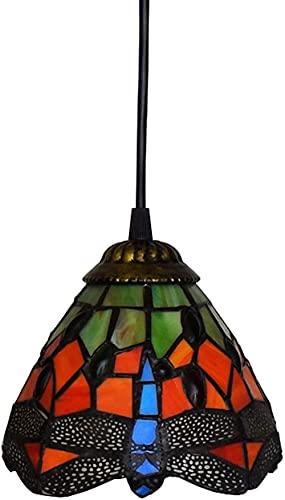 MAIGOU Lámpara Colgante Tiffany Style Chandelier Dragonfly Lámpara de Cristal manchada E27 40W Sala de Estar/Restaurante/Dormitorio/Bar Decoración Lámpara Colgante 40 cm verde-15 cm Rojo Baifantas