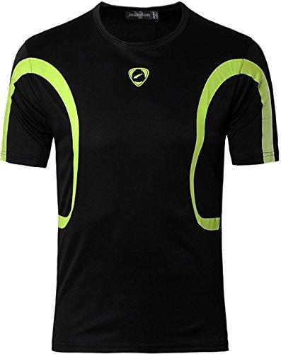 jeansian Homme T-Shirts de Sport Manches Courtes Men Fitness Short Sleeves Sport T-Shirt Tops MFN_LSL161 Black XL