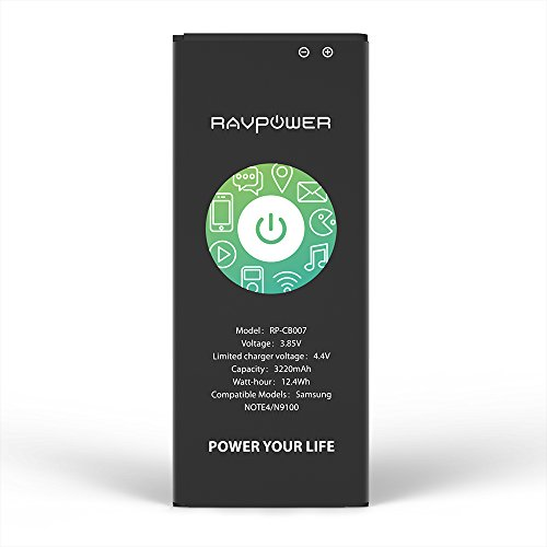 Galaxy Note 4 Battery RAVPower 3220mAh Li-ion Replacement Battery for Samsung Note 4 N910, N910U 4G LTE, N910V(Verizon), N910T(T-Mobile), N910A(AT&T), N910P(Sprint) Without NFC