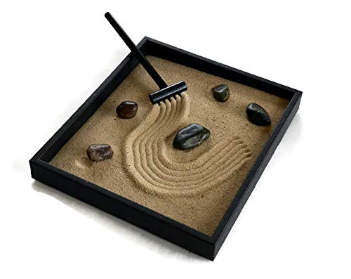 Zen Garden Black Handmade Kit Indoor Mini Sand Garden Relaxation Gift