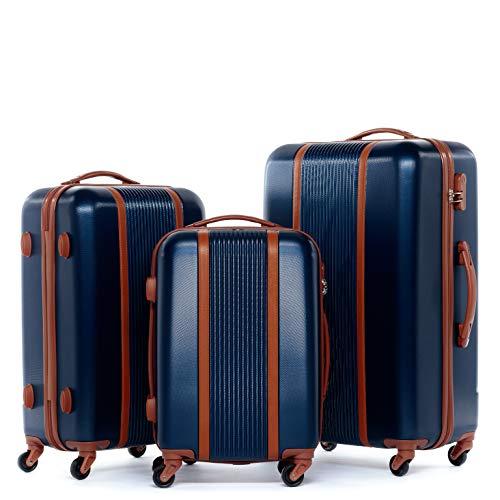 FERGÉ Kofferset Hartschale 3-teilig Milano Trolley-Set - Handgepäck 55 cm, L und XL 3er Set Hartschalenkoffer Roll-Koffer 4 Rollen 100% ABS blau