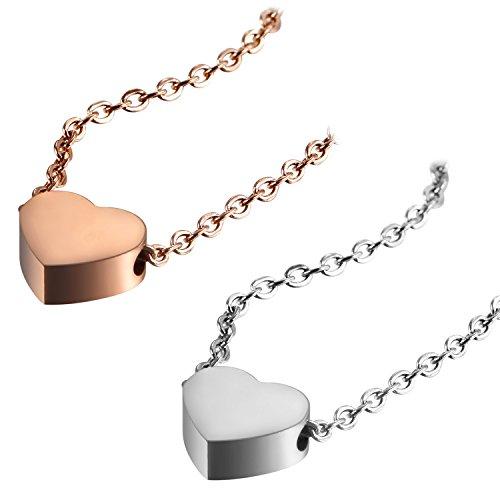 Flongo Damen Kette Frauen Halskette Mädchen Freundschaftsketten, 2 Stück Edelstahl Anhänger Halskette Silber Rose Gold Herz Herzchen Love Liebe Freundschaft Süß Elegant Damen