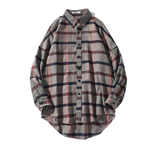 Camisa a Cuadros con Botones a Cuadros de Manga Larga Informal para Hombre Blusa Tops Chaqueta de Punto con Botones Sueltos con Dobladillo Irregular y Solapa de Primavera L