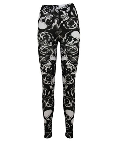 Damen Stretch-Hose Jeggings Leggings, bedruckt, Übergrößen Gr. S/M (34 /10), Skull Rose Black - Sexy Full Length Summer