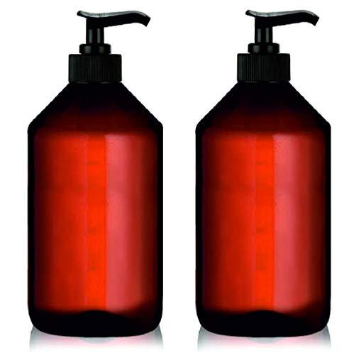 Botellas Ambar Vacias de Plastico con Dispensador Pompa para Jabon, Champu, Acondicionador, Aceite Esencial Aceite para Masajes Perfume Aromaterapia Lociones (2 x 1000 ml)