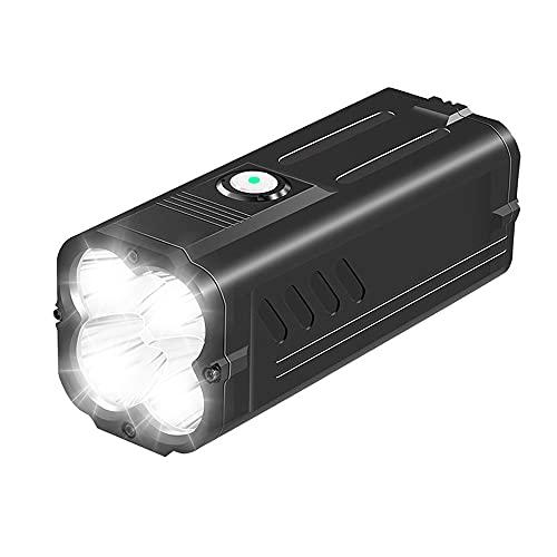 SuperFire Taschenlampe LED Aufladbar 6000 Lumen, M20 Helle Taktische Taschenlampe USB Wiederaufladbar mit IP44 Wasserdicht, 10400mAh Batterie und Kabel, 6 Lichtmodi für Camping, Geschenk, Angeln