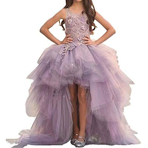 Gorgeous Hi-Low Ball Gown Sweep Train Pagenat Gown for Teens Flower Girl Dress with Applique 4 Lavender