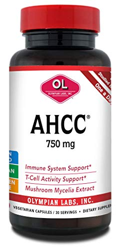 Olympian Labs Premium AHCC Supplement–750mg of AHCC per Capsulesule–Supports Immune Health, Liver Function, and Natural Killer Cell Activity- 30 Capsules