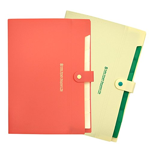 MinniLove A4 ファイルケース 多層書類袋 オルガンフォルダ ファイル書類整理袋 領収書入れ ファイルストレージバッグ PVC防水 スナップボタン (8層-2色入-YW)