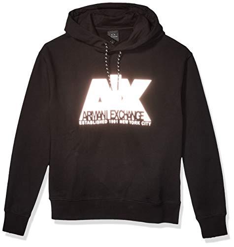 Armani Exchange AX Herren Cotton Polyester Fleece Pullover Hoodie Sweatshirt, schwarz, Small