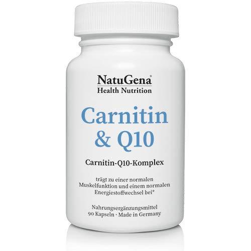 NatuGena Carnitin & Q10, fördert die Muskelfunktion und Energeistoffwechsel, 90 Kapseln für 30 Tage