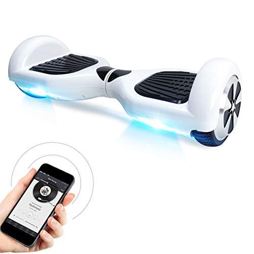 "BEBK Hoverboard 6.5\"" Smart Self Balance Scooter con Bluetooth,Overboard con LED Autobilanciato Scooter Certificazione UL 2272,2 * 350W Motore (Hip-Hop-BL)"