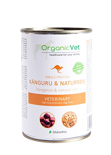 ORGANICVET Hund Nassfutter Veterinary Single-Protein Känguru und Naturreis, 6er Pack (6 x 400 g)