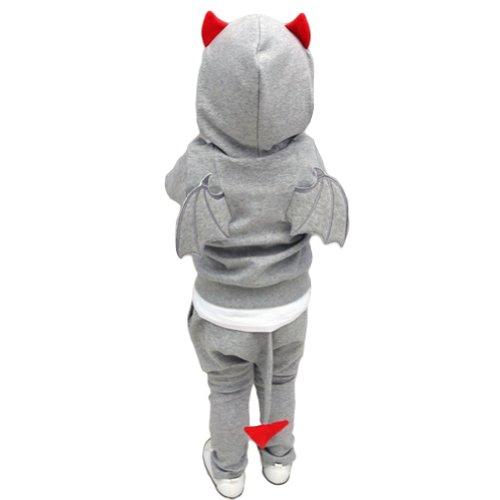 Conjunto de disfraz de diablo unisex para nios FBB006BLKL, con sudadera con capucha y pantaln deportivo LOCOMO Gris gris