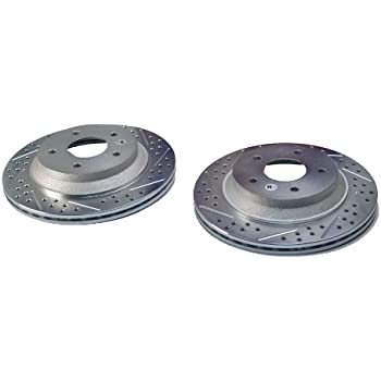BAER 05558-020 Sport Rotors Slotted Drilled Zinc Plated Front Brake Rotor Set Pair