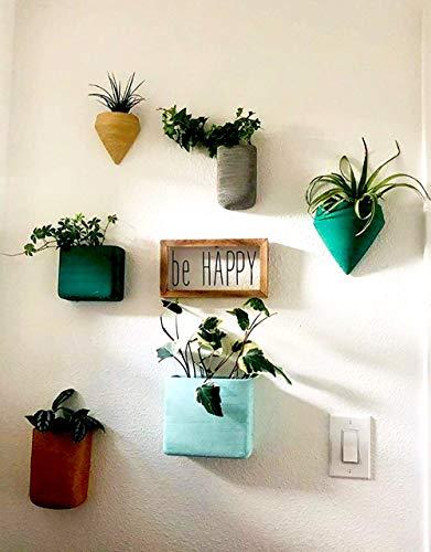 Ecosides 6 X Geométricas Macetas Pared Resina Cestas Colgantes, Suculento Cactus Maceteros Pequeños para Hierbas Flores Plantas Casa y Jardín Porche Boda Pared Decor Uso en Interior Exterior,Vistoso