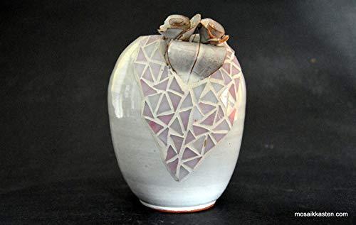 Handgemachte Vase grau rosa 135 mm hoch Aus alt mach neu - Mosaik