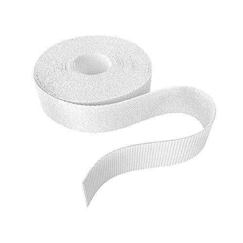 KabelDirekt - Klett Kabelbinder wiederverschließbar - 20mm x 10m - (Rolle für Kabel, frei zuschneidbar & wiederverwendbar, weiß)