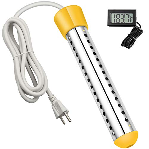 Immersion Heater, GESAIL 1500W Submersible Immersion Water Heater with Full 304 Stainless-steel Guard and Digital LCD Thermometer, Bucket Heater Heats 5 Gallons of Water in Mimutes - Yellow