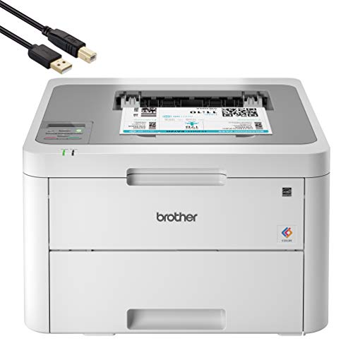 Brother HL Series USB & Wireless Single-Function Digital Color Laser Printer for Home Business Office - Fast Print Speed up to 19 ppm, 600 x 2400 dpi, 250-Sheet Large Capacity - BROAGE Printer Cable