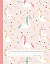 Unicorn Flowers - Primary Story Journal: Dotted Midline and Picture Space   Grades K-2 Composition School Exercise Book   100 Story Pages (Cute Unicorn Notebooks For Girls)