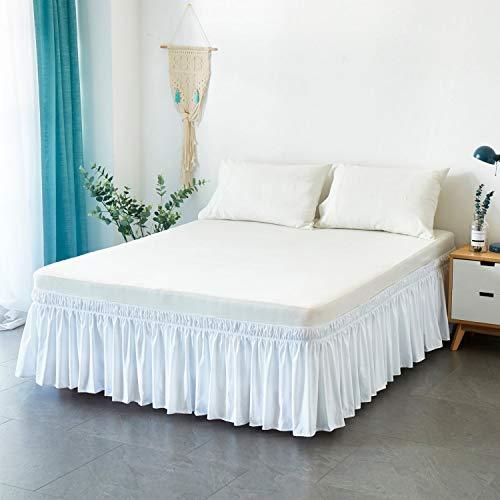 Falda de Cama 150/135/90/180cm Volantes elástica Falda de Cama 38cm Bedding Ruffled Bedskirt (Color : White, Size : 150 * 200+38cm)