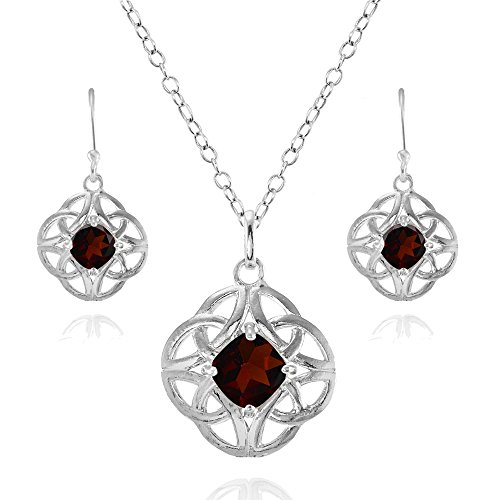 Sterling Silver Garnet Cushion-Cut Celtic Knot Pendant Necklace and Dangle Earrings Set