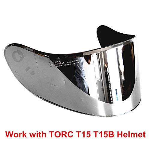 VCOROS Visor For TORC T15 T15B Bluetooth Helmet Visor Replacement Face Shield (Chrome Silver)