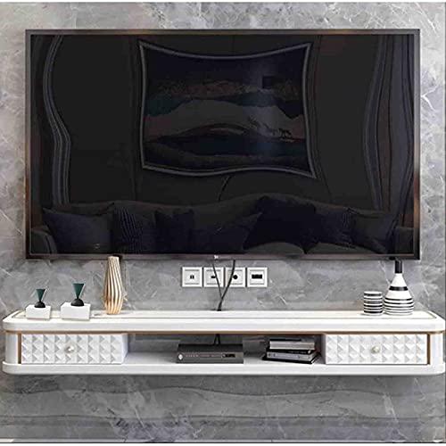 Estante De TV Flotante Gabinete De TV Montado En La Pared Consola De Audio/Video/Multimedia con Cajón Centro De Entretenimiento Estante De Almacenamiento para Decodificadores De Cable
