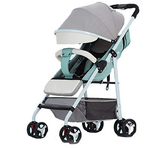 Poussette Ultra légère Peut s'asseoir inclinable Parapluie bébé Pliant Petite Poussette Simple Enfant (Color : Green)
