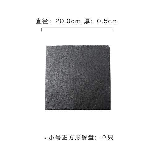 Qingsb Leisteen plaat zwarte leisteen huis Japanse sushi rock lade rechthoekige display schotel barbecue plaat, vierkant klein