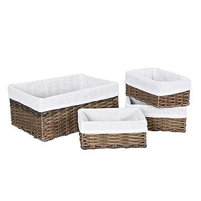 HOSROOME Handmade Wicker Storage Baskets Set Woven Decorative Organizing Nesting Baskets for Bedroom Bathroom(Set of 4,Brown)