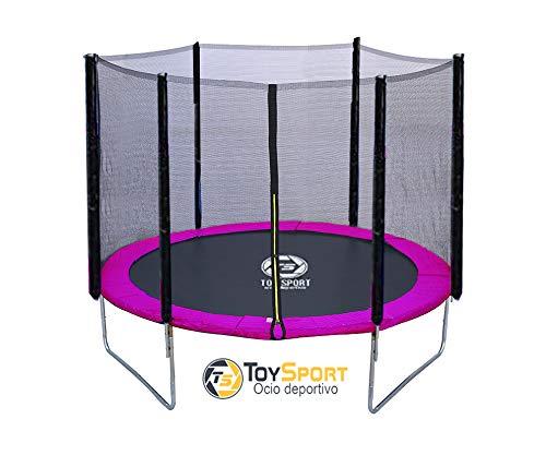 BC BABY COCHES Cama Elastica Toy Sport, Trampolin de 185 cm, Estructura Reforzada Acero galvanizado, Red Proteccion, Cierre Cremallera, Color predominante. (Rosa)